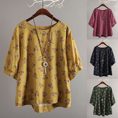 ZANZEA 8-24 Women Summer Loose Retro Boho Floral Print Top Tee T Shirt Blouse