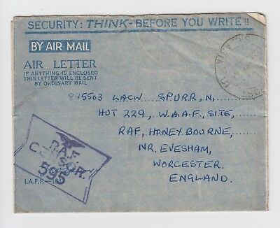 WW2 RAFPOST India WAAF Censor Air letter to RAF Honeybourne Evesham 1945