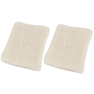 Home Kitchen Rectangle Shape Bowl Dish Plate Washing Cleaning Pad Beige 2pcs