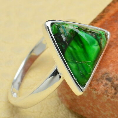 Sz 4.75 100% Solid 925 Sterling Silver Green Copper Turquoise Gems Triangle Ring