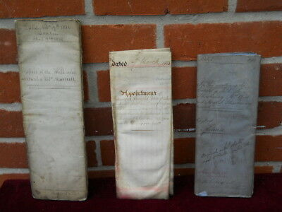 Three large Handwritten 19th c Documents, inc one signed by Charles Walpole