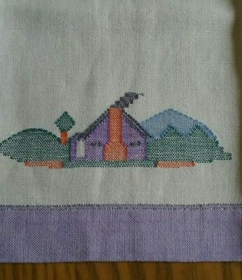 "Beautiful Vintage 24"" Linen Guest Or Tea Towel ~ Hand Embroidered ~ House & Mtns"