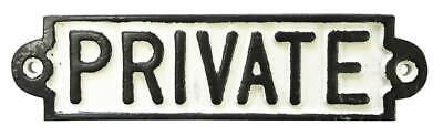Private Display Cast Iron Antique Vintage Sign Badge Wall Public Room Logo
