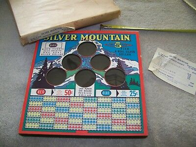 Silver Dollar Mountain 5 Cent Thick Punch Board Gambling Unused Old Store Stock