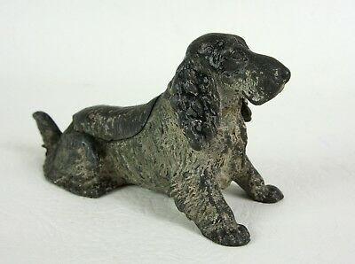 Antique Austrian Cold Painted Cocker Spaniel Ashtray Hinged Lid, Trap Door