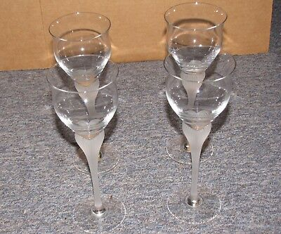 Contemporary Frosted Stem Champagne Glasses