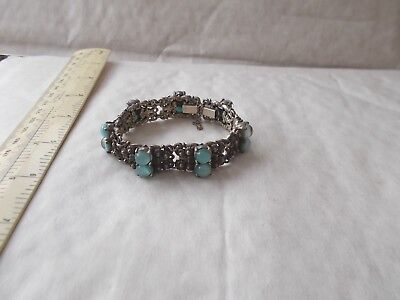 Attractive Vintage Bracelet Inset 7 Pairs Blue Stones. Possibly Asian / Eastern