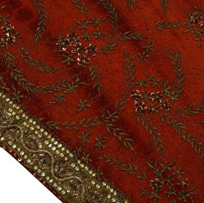 HEAVY Vintage Saree 100% Pure Georgette Silk Hand Beaded Embroidered Fabric