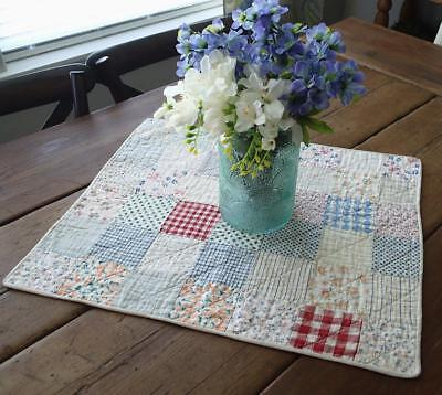Vintage 30s Feedsack One Patch Table Doll Quilt 21x18 Cottage Charm
