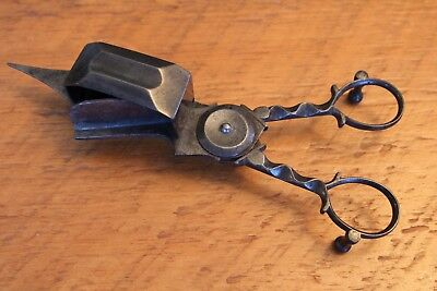 Early Antique Footed Metal Candle Wick Trimmer Scissors Snuffer