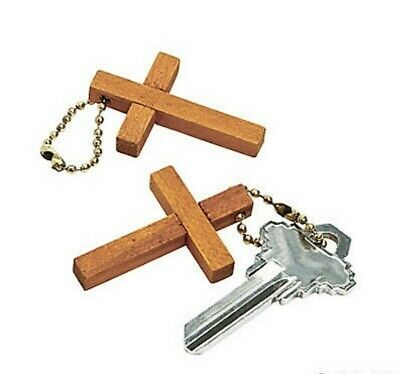 """Wooden Cross Key Chains ~ Set of 12 Natural Wood Cross 1 3/4"""" on metal chain"""
