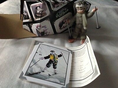 Kim Anderson's You're My Winter's Joy Girl Skier Bisque Ornament w/Box 1998