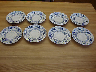 8 Blue & White Johnson Brothers Saucers Made In England Blue Onion Plates