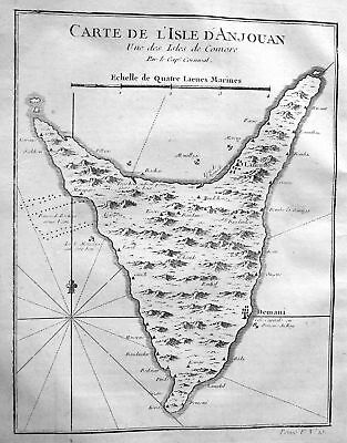 Anjouan Komoren Indian Ocean island Insel map Kupferstich antique print Bellin