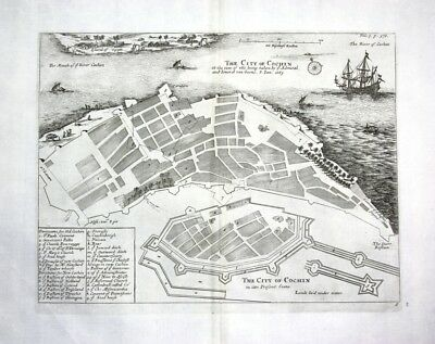 1730 Churchill Kochi Cochin Keraln India Indien Kupferstich engraving map Karte