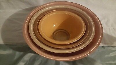 Set of 4 Vintage Pyrex Glass Autumn Rainbow Nesting Bowls Two Tone Clear Bottom