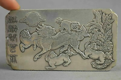Collectable Handwork Old Miao Silver Carving Dance Kylin Exorcism Lucky Pendant