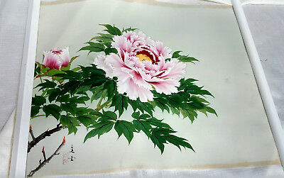 Antique Japanese Silk Painting Original Art Signed Floral VTG Rolled Scroll