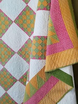 c1860 Early Antique QUILT with Glorious Cheddar! Green & Pink Quilt Flying Geese