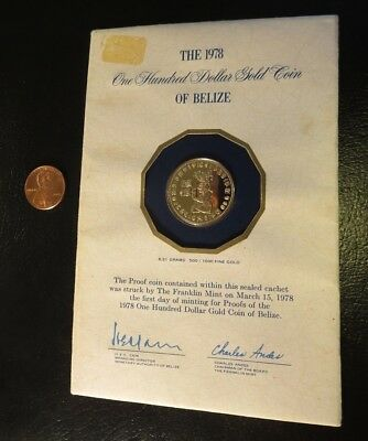1978 $100 GOLD COIN BELIZE 6.21 Grams 500/1000 Fine ~ 12K Franklin Mint