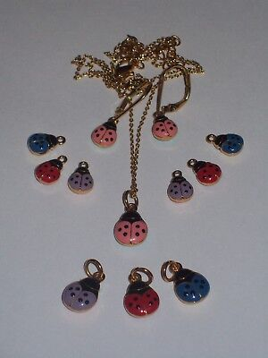 Joan Rivers Colorful Mix n Match Ladybug Necklace and Pierced Earring Charm Set