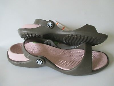 Crocs Cleo Sandals, Women's Size 10 Chocolate/Cotton Candy NWT FREE USA SHIPPING