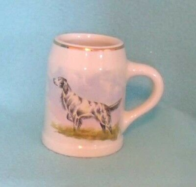 Vintage Heirloom China Hand Painted Pointer Dog Mug Stein Signed L. Banks