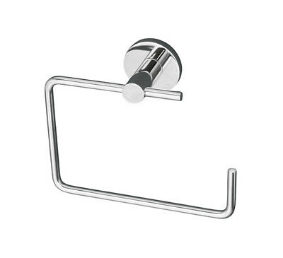Linkware Sabine Bathroom Open Towel Ring In Solid Brass And Bright Chrome