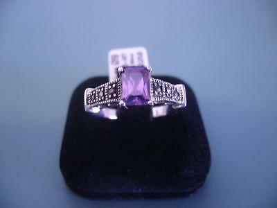 Sterling Silver Created Amethyst & Marcasite Gemstone Ring - 9 / R.5 - 4G