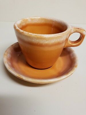 Hull TANGERINE  Drip Coffee Cup Saucer  Oven Proof USA Vintage Pottery 10 oz