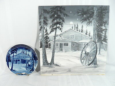 Ultra RARE 1979 Canada Christmas Plate W/ ORIGINAL ART PAINTING of a Yukon Lodge