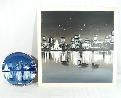 RARE 1978 Vancouver Lost Lagoon Christmas Plate W/ ORIGINAL ART PAINTING Signed