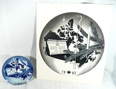 1982 Canada's Constitution Christmas Plate W/ ORIGINAL Signed RJ Banks PAINTING