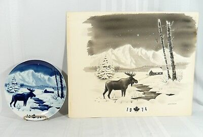 Ultra RARE 1974 Canada MOOSE Christmas Plate W/ ORIGINAL PAINTING F.M.Prowse