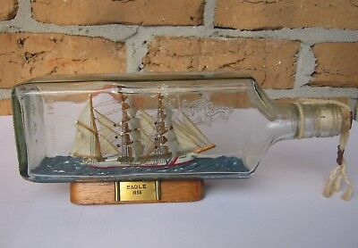 1936 Eagle Coastguard Sailing Ship In Old Gilbey's Gin Bottle . Ht