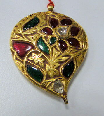 Diamond Pendant vintage antique old gold kundan meena diamond ruby Mughal jewels