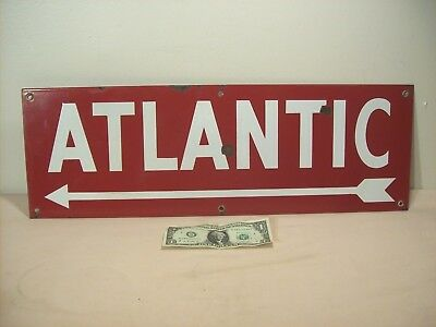 """1920's~ATLANTIC~GAS & OIL ADVERTISING~PORCELAIN TWO SIDED SIGN w/ARROW~24"""" x 8""""~"""