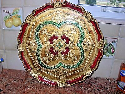 "Large Gilt Florentine Tole Tray Round Gold Red and Green 13 1/2"" Christmas"