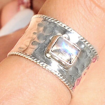 Square Moonstone Ring Sterling Silver 925 Hammered Wide with White Stone Size 7