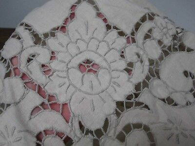 VINTAGE LIGHT BEIGE PURE LINEN TABLECLOTH w CUTWORK EMBROIDERED FLOWERS 66x84