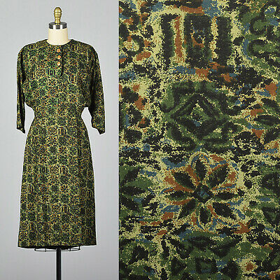 M 1950s Green Print Day Dress Dolman Sleeves Pencil Skirt Casual Autumn 50s VTG