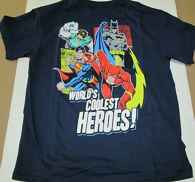 New Boys Youth DC Comics Justice League Batman Coolest Heroes T-Shirt Medium