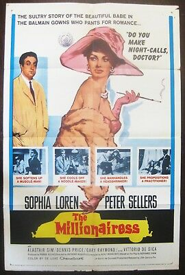 The Millionairess 1960 Sophia Loren Peter Sellers Original US One Sheet Poster