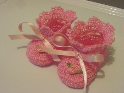 Crochet Baby Infant Girl Booties Shoes Pink