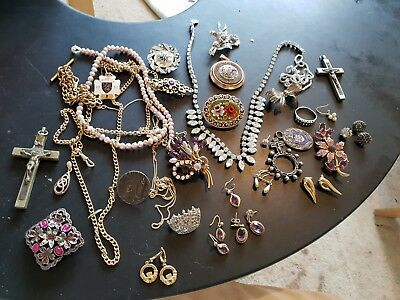 Job lot vintage costume jewellery some gold and silver amethyst earrings pierced