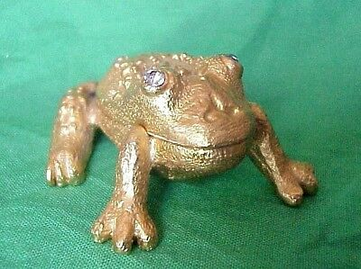 FROG TOAD clear rhinestone eyes TRINKET BOX Gold in color metal