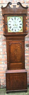Antique 8 Day Oak / Mahogany Cross Banded Grandfather Clock Geo Willis Northwich