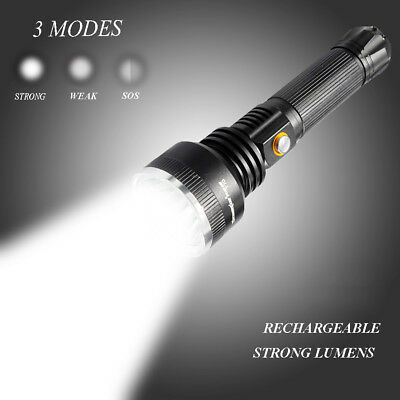 Powerful Flashlight Tactical Hiking Torch 30000LM Rechargeable T6 LED Torch