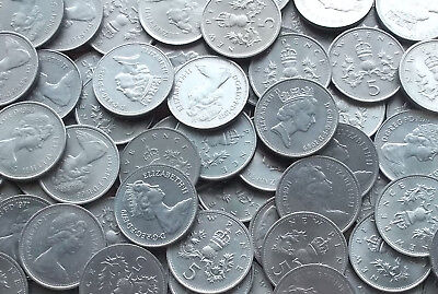 BULK / JOB LOT of 70 Large Decimal 5p Coins - Ideal for Old Slot Machines (PB66)
