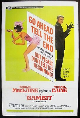 Gambit 1967 Michael Caine Shirley MacLaine Original US One Sheet Poster